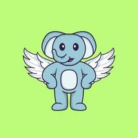 Cute elephant using wings. Animal cartoon concept isolated. Can used for t-shirt, greeting card, invitation card or mascot. Flat Cartoon Style vector