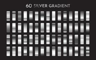 Silver Metal Realistic gradient Premium swatch collection vector