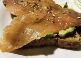 Salmon and avocado toast photo