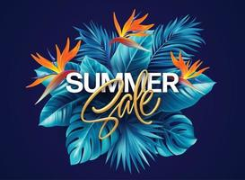 Summer Tropical Background with Strelitzia Flowers and Tropical Leaves The Inscription Enjoy Summer on a Background of Tropical Green Leaves Vector illustration