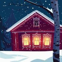 Lighting House with Snowfall Illustrator vector