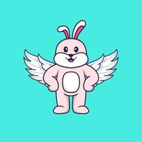 Cute rabbit using wings. Animal cartoon concept isolated. Can used for t-shirt, greeting card, invitation card or mascot. Flat Cartoon Style vector