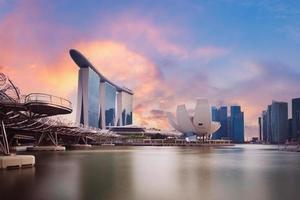 Singapore business district skyline at Marina Bay. photo