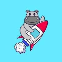 Cute hippopotamus flying on rocket. Animal cartoon concept isolated. Can used for t-shirt, greeting card, invitation card or mascot. Flat Cartoon Style vector