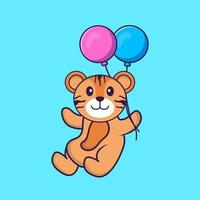 Cute tiger flying with two balloons. Animal cartoon concept isolated. Can used for t-shirt, greeting card, invitation card or mascot. Flat Cartoon Style vector