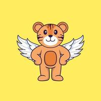 Cute tiger using wings. Animal cartoon concept isolated. Can used for t-shirt, greeting card, invitation card or mascot. Flat Cartoon Style vector