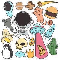 Set of cute doodles for kids, print, cartoon, stickers, fun vector