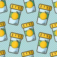 vitamin c bottle seamless pattern vector illustration in flat style