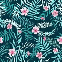 Seamless tropical leaves and pink flowers. Tropical background. Print for web, fabric and wrapping paper. vector