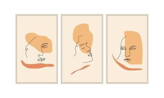 Face Line Art Abstract Minimalist for wall decoration, posters, brochures and others vector