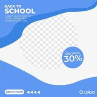 Back to school discount blue poster social media template memphis minimalist style vector
