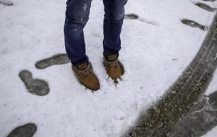 Footprints in snow photo