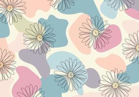 Patrón abstracto flor de línea dibujada a mano en forma orgánica fondo de color pastel vector