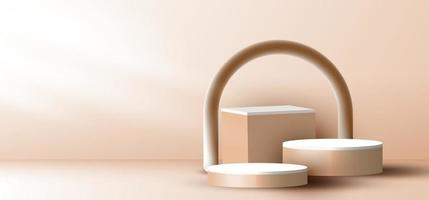 3D realistic elegant brown geometric cylinder, cube on layers rounded backdrop on beige background with lighting vector