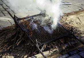 Fire on grill photo