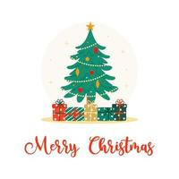 Decorated Christmas Tree and Presents Flat Vector Illustration
