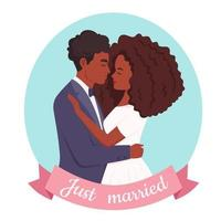 Wedding couple. African american married couple. Wedding portrait. vector