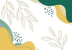 Dibujado a mano abstracto forma orgánica verde y amarilla con líneas de hojas sobre fondo blanco. vector