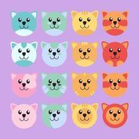 Cute cat set vector illustration