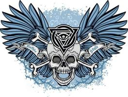 Gothic sign with skull and blue wings, grunge vintage design t shirts vector
