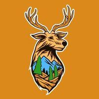 cabeza de ciervo con ilustración de vector de paisaje