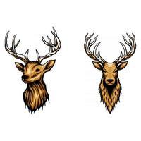 Deer head set vector illustration