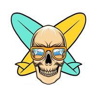 cráneo con ilustración de vector de surf