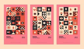Conjunto de ilustración de fondo geométrico bauhaus abstracto, diseño plano de formas geométricas murales de colores vector