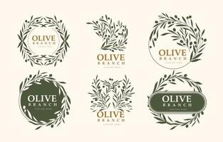 Minimalist Design Olive Logo with Green Color vector
