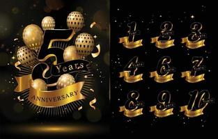 Elegant Anniversary Concept with Gold and Black Colors vector