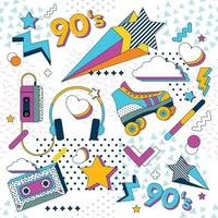 90s Icons with Colorful Style vector