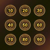 Gold Brown Anniversary Celebration Badge Collection vector