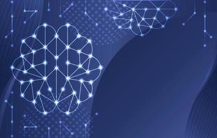 Gradient Blue Brain Neuron Background vector