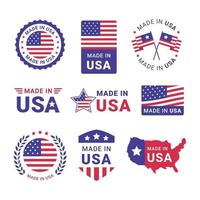 Set of Made in USA Label vector
