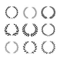 Set of Black and White Olive Wreath vector