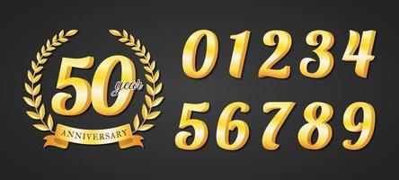 Set of Gold Metal Number for Anniversary Badge vector