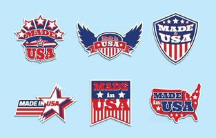 Made In USA Sticker Collection vector