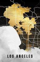 Los Angeles California Map in Black and Gold vector