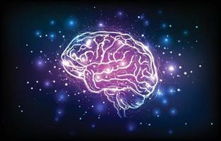 Cerebro humano digital con neuronas y sinapsis. vector