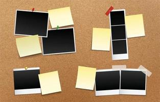 Blank Polaroid Paper with Post Note Template vector