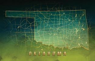Oklahoma Map Background in Golden Jade Design vector