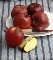 Deliciosas manzanas en un plato con un cuchillo sobre un mantel rayado foto