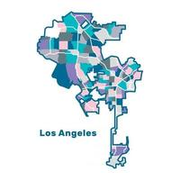 Colorful Map of Los Angeles vector