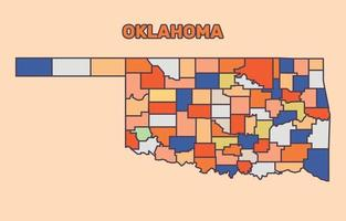 Colorful Map of Oklahoma vector