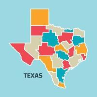 colorido mapa de texas vector