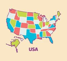 Colorful Map of USA vector