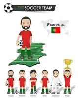 Portugal national soccer cup team . Football player with sports jersey stand on perspective field country map and world map . Set of footballer positions . Cartoon character flat design . Vector .