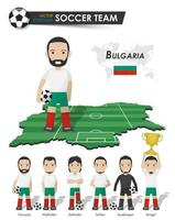 Bulgaria national soccer cup team . Football player with sports jersey stand on perspective field country map and world map . Set of footballer positions . Cartoon character flat design . Vector .
