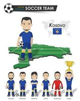 Kosovo national soccer cup team . Football player with sports jersey stand on perspective field country map and world map . Set of footballer positions . Cartoon character flat design . Vector .