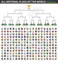 todas las banderas nacionales del mundo. Soportes de torneo de la liga de campeones de la copa de fútbol. Patrón de bola y bandera 3D en el campo de fútbol de vista en perspectiva. Fondo de mapa del mundo punteado. vector de deportes.